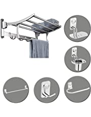 Plantex High Grade Stainless Steel Folding Towel Rack with Bathroom Accessories Set of 5pcs (Towel Rod/Napkin Ring/Tumbler Holder/Soap Dish/Robe Hook)