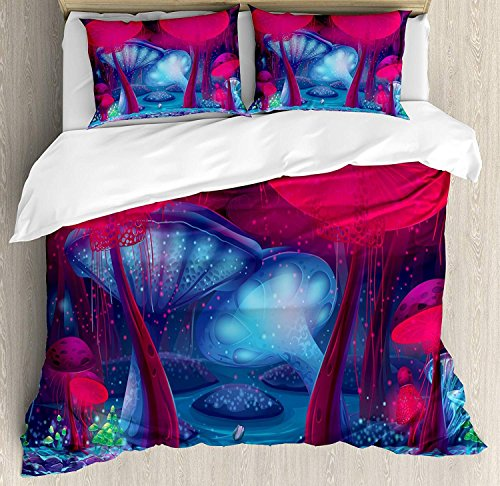 Soefipok Pilz 3-teiliges Bettwäscheset Bettwäscheset, Zauberpilze mit lebhaftem Neon-Design, Grafik, Zauberwald-Motivdruck, 3-TLG. Tröster- / Qulitbezug-Set mit 2 Kissenbezügen, Blau-Rot