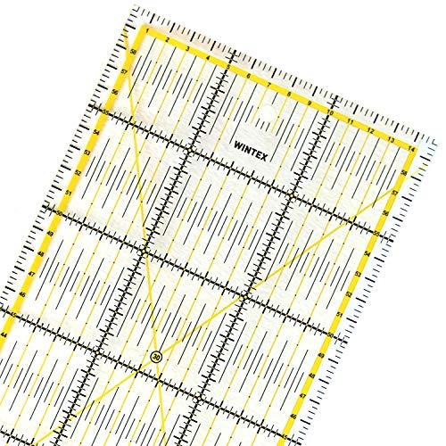 WINTEX Universal-Lineal 15 cm x 60 cm, transparent, 2-farbiger Druck mit cm-Raster und Winkelanzeige in 30°/45°/60°- Rollschneider-Lineal, Patchwork-Lineal, Bastel-Lineal - ideal zum Nähen und Basteln