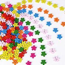 200 pz Bottoni Legno Fiori Colorati per Decorazioni Cucito Fai da Te Scrapbooking Artigianato Bricolage