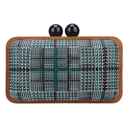 Bonjanvye clutch purses for women wood frame clutches and evening bags green
