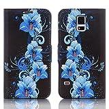 Numerva Samsung Galaxy S3 Mini Hülle, Schutzhülle [Design Bookstyle Handytasche Motiv] PU Leder Tasche für Samsung Galaxy S3 Mini Wallet Case [QJC-337 Blau]