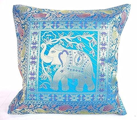 Ganesham Handicraft - Indian Ethnic Decorative Silk Throw Pillow Cushion Cover Silk Home Decor Cushion Cover, Indian Silk Brocade Toss Pillow Cover , Handmade Banarsi Sequin Pillow Cover Silk Pillow Shams Couch