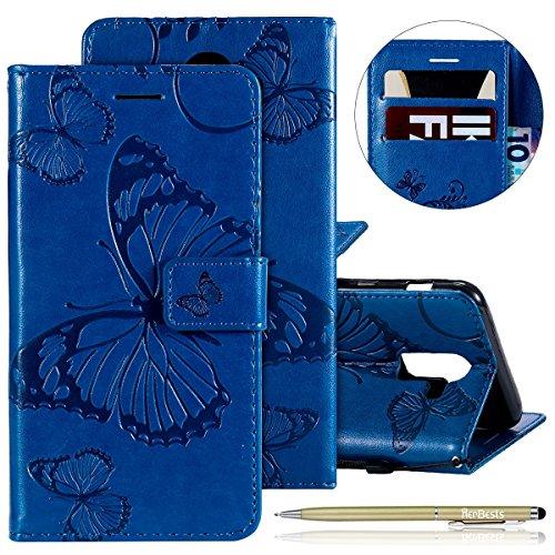 Herbests Kompatibel mit Samsung Galaxy J8 2018 Handy Hülle Tasche Leder Handy Schutzhülle 3D Retro Schmetterling Tasche Leder Flip Case Cover Lederhülle Magnet Kartenfach Handytasche,Blau