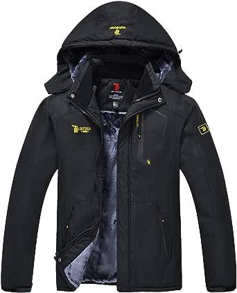 donhobo Men's Fleece Jacket Winter Waterproof Warm Ski Jackets Windproof Coat with Zip Pockets Hood