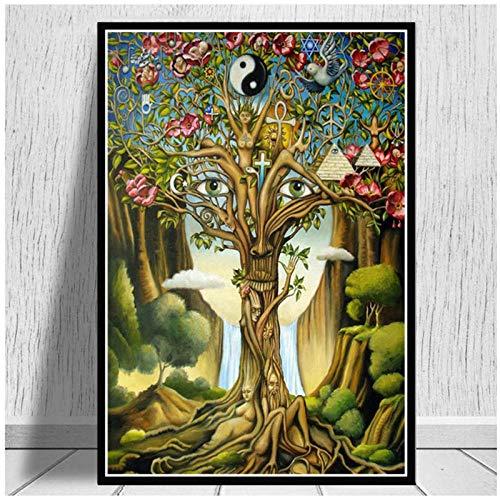 Dayanzai poster e stampe grigio psichedelico trippy albero vita arte pittura parete arte tela quadri murali per soggiorno complementi arredo casa-50x70cm-senza cornice