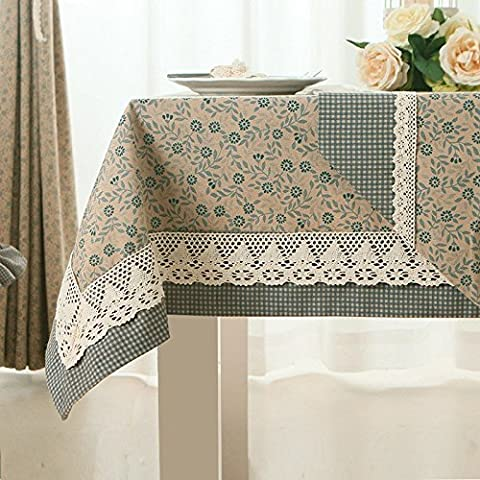 Pizzo floreale semplice tovaglie tovaglia rettangolare caffè tovaglia tavolo panno pastorale americana, Cotone, Lattice face lace (to the blue), 130x220cm