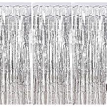 ManYee Tinsel függöny készlet 3 db ajtó Fringed fém fólia függönyök Fényes ezüst ablak Dekoráció esküvőre Birthday Party Christmas
