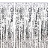 Fringe Cortina ManYee 3 Piezas Sliver Metálico Foil Fringe Curtain Shimmer Brillante Cortinas de Papel para Fiestas Cumpleaños Boda Foto Adecuado para Ventanas Puertas Paredes