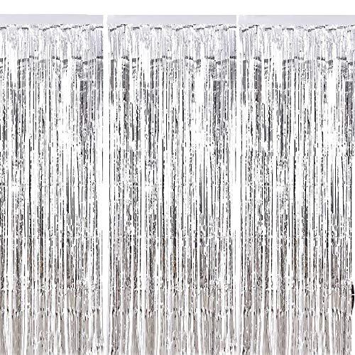 (ManYee Lametta Vorhang Set 3 Pcs Tür Fransen Metallfolie Vorhänge Glänzend Silber Fenster Dekoration für Hochzeit Geburtstag Party Weihnachten)