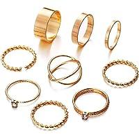 Shining Diva Fashion Set of 9-8 Boho Midi Finger Crystal Rings for Girls and Women