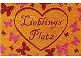 matches21 Fußmatte Fußabstreifer Kokos Lieblingsplatz Schmetterlinge Herz bunt 40x60x1,5 cm cm rutschfest Kokosmatte