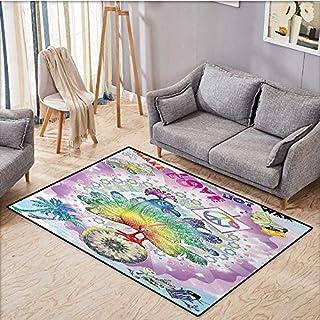 Hippie Fußmatten für Zuhause, lustiger Pfau mit Make Love Not War Zitat Hippie Blume Kinder Peace Thema Antistatisch Wasserdichte Matte 40,6 x 61 cm Mehrfarbig