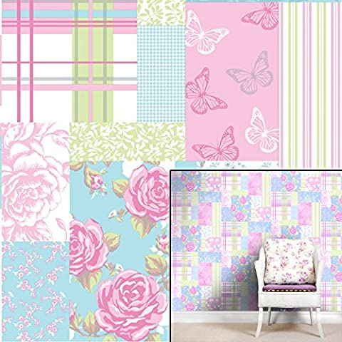 Coloroll Wallpapers The Wallpaper Collection Pollyanna Sky Blue Pink M0720