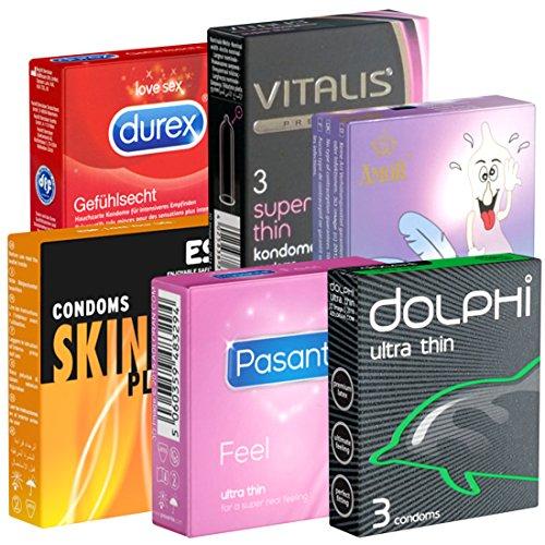 Der Kondomotheke® Feel&Thin Mix SIXPACK! 6x3 Kondome (Amor, Dolphi, Durex, ESP, Pasante, Vitalis) - Probierset!