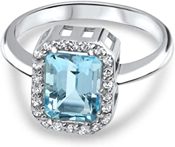 aion Damen Solitär Ring echt 2 ct Aquamarin 925 Sterling