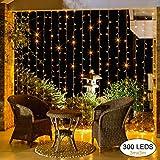 Elegear Cortina de Luces Guirnalda Luces 3×3 LED Iluminación Led Exterior e Interior...