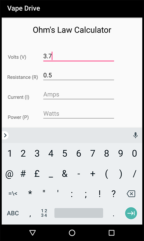 Vape Drive Ohm's Law Calculator: Amazon co uk: Appstore for