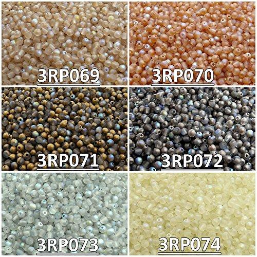 600 stk 6 Farben Tschechische Gepresste Glasperlen Rund 3 mm, Set RP 327 (3RP069 3RP070 3RP071 3RP072 3RP073 3RP074)