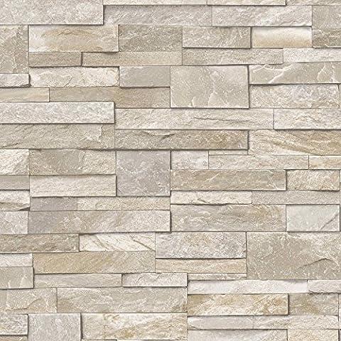 3D Slate Stone Brick Effect Wallpaper Washable Vinyl Sand &