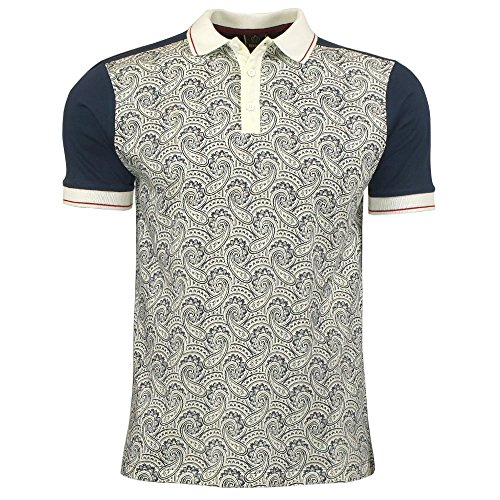 Merc London Barnes Paisley Print Polo in Navy Navy