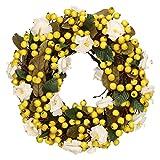 Beerenkranz Gelb Kranz mit Blüten und Beeren Blumenkranz Deko Tischdeko