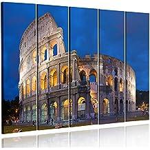 Feeby Frames, Cuadro en lienzo - 5 partes - Cuadro impresión, Cuadro decoración, Canvas (COLISEO, NOCHE, AZUL, AMARILLO, GRIS) 70x100 cm, Tipo C