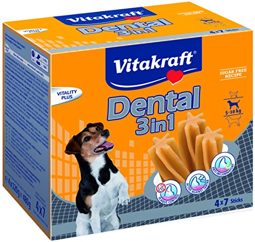 Vitakraft Dental 3in1 Multipack - Zahnpflege-Snack für Hunde von 5-10 kg - 16x 7 Sticks
