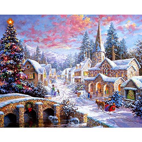 DIY 5D Diamond Painting Weihnachten Set,Diamant Malerei Full Drill Handgefertigt Stickerei Naht Geschenk Arts Crafts für Haus Wand Büro Wohnzimmer Schlafzimmer Decor,30 * 30cm (B) -