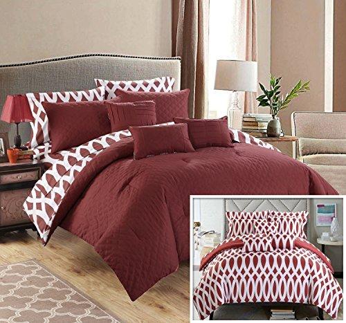 Chic Home 10Stück Tröster-Set inkl. 4Stück Blatt Set, Queen, Marsala