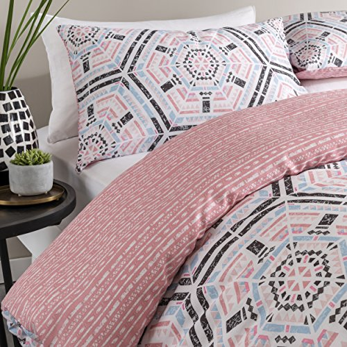 Aztec Geo Blush Reversible Duvet Cover Set with Pillow Cases By Pieridae(Double)