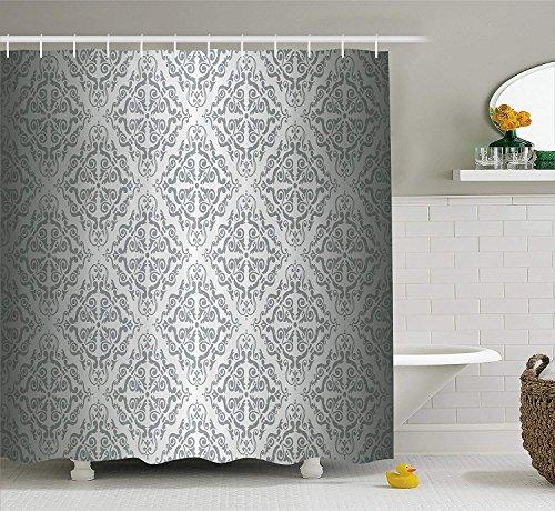 Nyngei Silber Duschvorhang Set Vintage Mandala Barock Muster Monochrom viktorianischen antiken Ornamenten Retro Damast Stoff Badezimmer Dekor mit180 cm Lange graue Ombre (Lange Damast-duschvorhang)