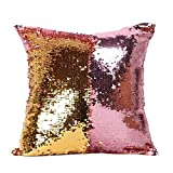 Zuhause Dekorative❤️Vovotrade 40cm*40cm quadratische Kissenbezüge Mode doppelte Farbe Glitter Pailletten Dekokissen Cases Sofa Kissenbezug Exquisite Kissenbezüge Schlafzimmer Dekor (F, 40cm*40cm/15.74*15.74