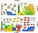 Stickerkoenig Wandtattoo Wandaufkleber Fische Meerestiere Ozean Unterwasserwelt 2D Sticker auch als Fliesenaufkleber im Badezimmer auf 2 XXL Bögen #2011 - 2