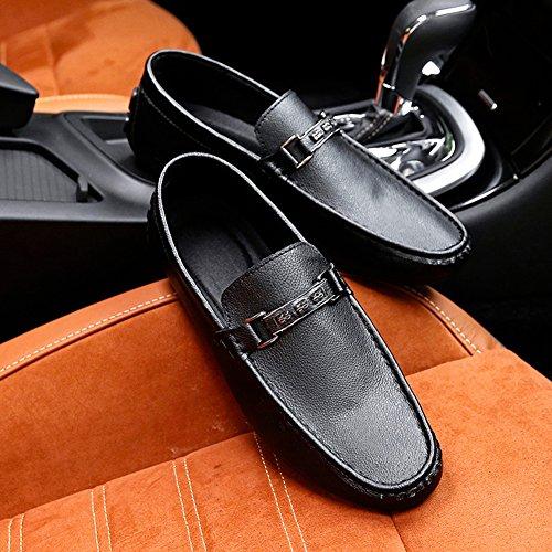 36ad4e73eff2e0 ... Mocassins De Bateau Pour Hommes Glissent Sur Des Chaussures  Décontractées Basses Avec Boucle Noire ...