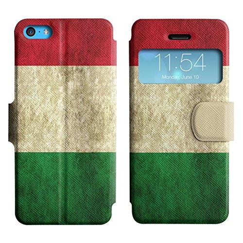 Graphic4You Vintage Uralt Flagge Von Österreich Österreichisch Design Leder Schützende Display-Klappe Brieftasche Hülle Case Tasche Schutzhülle für Apple iPhone 5C Italien