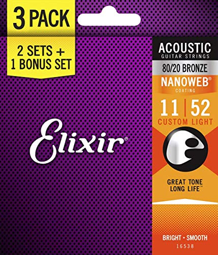 Elixir Bronze Nanoweb 11-52 Acoustic Guitar Strings Bonuspack