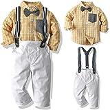 Sanmio - Conjunto de ropa para bebé, camisa, pantalón y pajarita para niños, traje para boda, fiesta de manga larga para prim