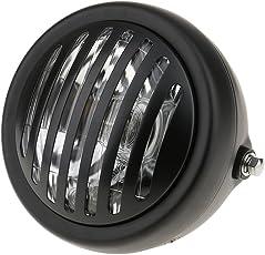 "Segolike 6"" LED 35W Headlight Finned Grill For Harley Bobber Chopper Honda Yamaha Suzuki - black"