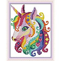 CaptainCrafts New Stamped Cross Stitch Kits Preprinted Pattern Counted Embroidery Starter Kits for Beginner Kids and Adults - Colored Unicorn