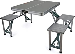 Inditradition Folding Picnic Table & Chair Set, Portable, Ideal for Camping & Hiking, Aluminium, Silver