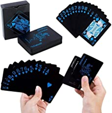 kigins Pokerkarten Schwarz Spielkarten aus PVC Kunststoff-Karten Plastikkarten Poker Cards Wasserdicht Poker Deck Kartenspiele
