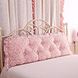 PIAOL Koreanisch Garten Spitze Baumwolle Bett Lange Kissen Couch Taille Waschbar Doppelt Rückenkissen mit Einem Kern Eine Optionale Größe,PinkE-180 * 55cm