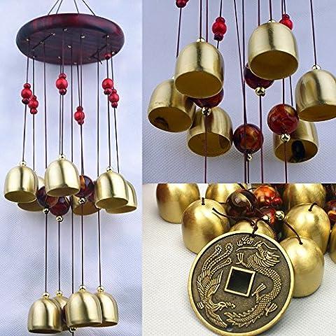 Sunfire Wind Chime, Cortile, Casa, Giardino Decorazione da appendere Greco esterni Bells Cina stile bronzo regalo 22in