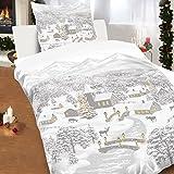 Baumwoll Biber Bettwäsche 135x200cm 2tlg Winterlandschaft Schnee Weihnachten