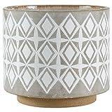 Rivet - Vaso in ceramica, stile geometrico, 22,1 cm di altezza, bianco e grigio