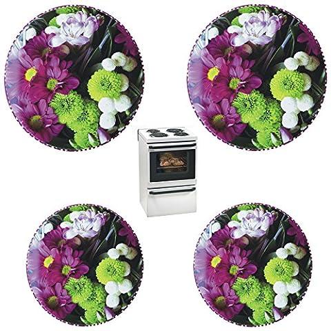 """4 Herdabdeckplatten in wunderschönem Design für konventionelle Herde, 2 x Ø 17cm und 2 x Ø 20cm; Motiv """"Blumenpracht"""""""