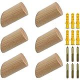 NewZC 6 stuks houten kledinghaken van natuurlijk hout, wandhaken van 3 x 6 cm, beukenhaken, 45 graden, haken voor kleding, sj