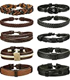 BESTEEL 10 PCS Intrecciato Bracciali Pelle da Uomo Donna Punk Multilivello Braccialetto Cuoio Vintage Set Bangle, Regolabile B