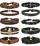 BE STEEL 10 STÜCKE Geflochtene Leder Armbänder für Herren Damen Punk Seil Armband Manschette Vintage Armbänder Wrap Set, Einstellbar b